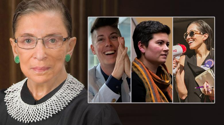 Four photos: Ruth Bader Ginsburg, Emily Evans, Karin Power and Christel Allen