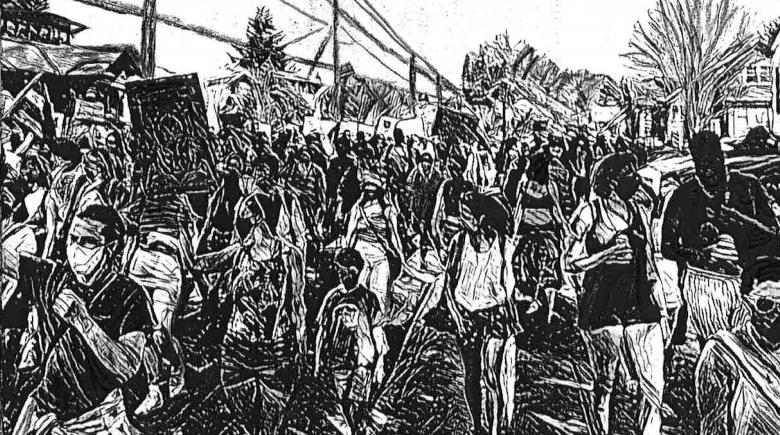 Drawing of people protesting while wearing masks