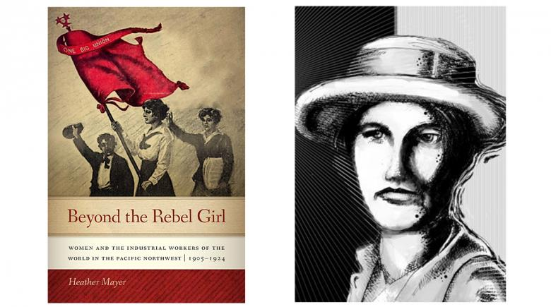 """Beyond the Rebel Girl"" book cover beside an illustration of a woman"