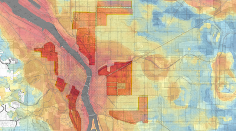 A map of Portland that shows temperates and historical redlining