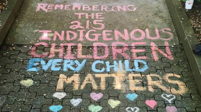 A West End chalk drawing by Eva Takakanew honoring children who died at the former Kamloops Indian Residential School.