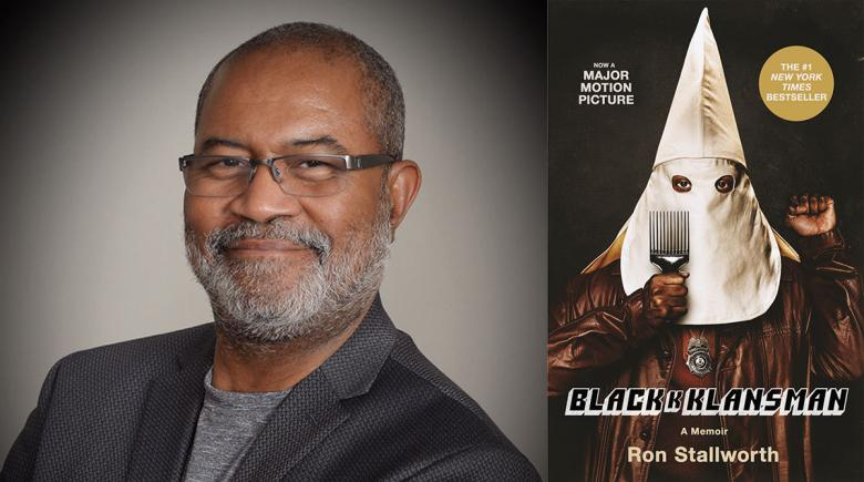 "Ron Stallworth and the cover of his book, ""Black Klansman"""