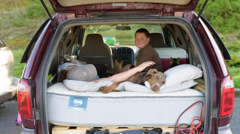 Sara and Josh in their van