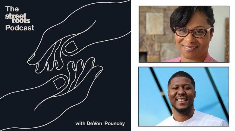 Street Roots Podcast logo with photos of Janelle Bynum and DeVon Pouncey