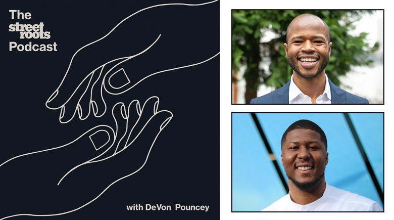 Podcast logo with portraits of Cameron Whitten and DeVon Pouncey