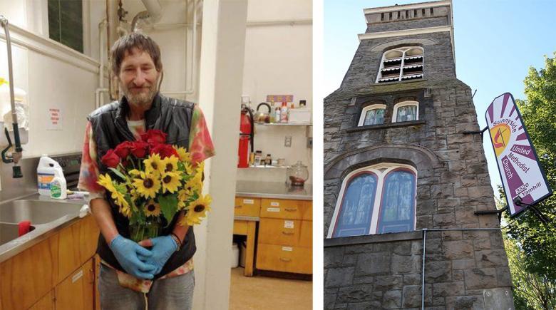 Left photo of Scott Rupp. Right photo of Sunnyside church.