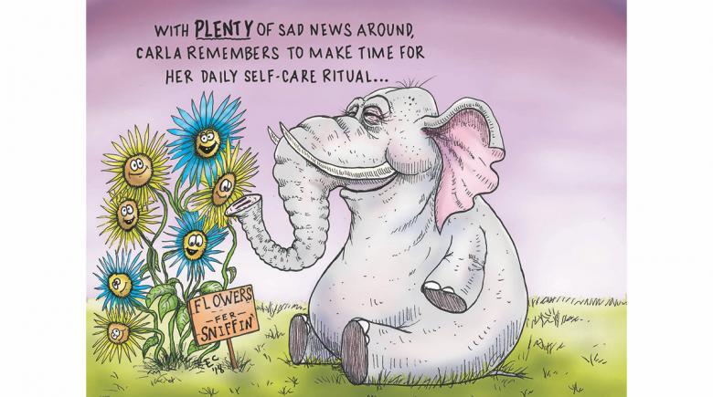 Sheeptoast editorial cartoon: Self-care