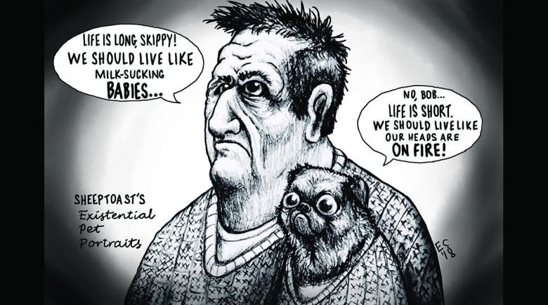 Sheeptoast editorial cartoon: Existential pet portraits