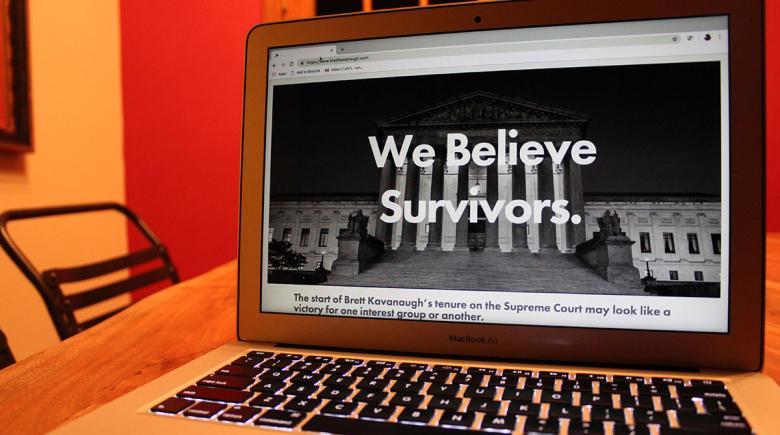 "Website's home page says: ""We believe survivors"""