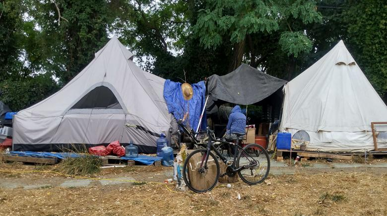 Photo of a portion of Carver's camp showing a few tents and a bicycle.