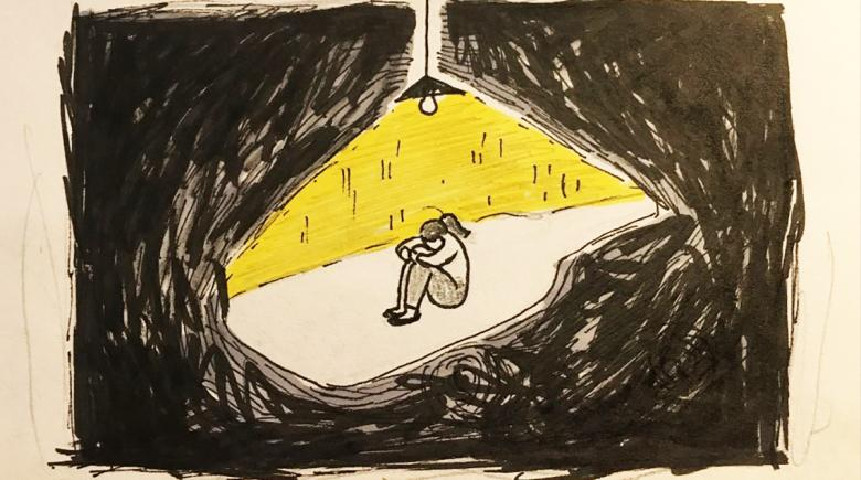 A drawing of someone alone in a room, sitting under a lamp but surrounded by darkness