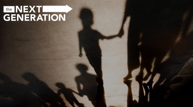 Shadows of children holding adults' hands with The Next Generation series logo