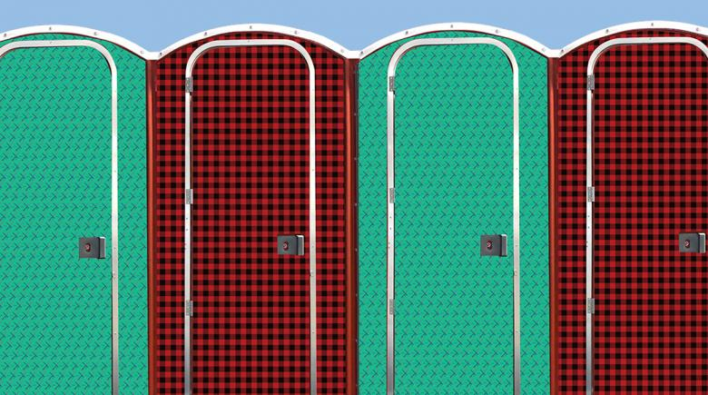 Mockup of proposed portable toilet designs