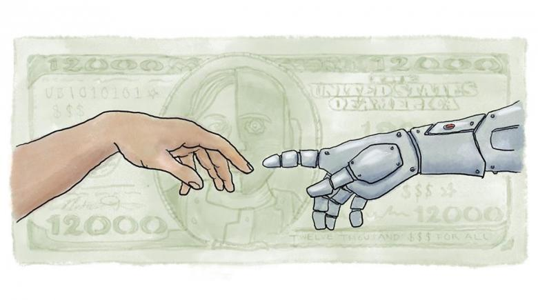 Illustration of a human hand reaching out to a robot hand with U.S. money in the background
