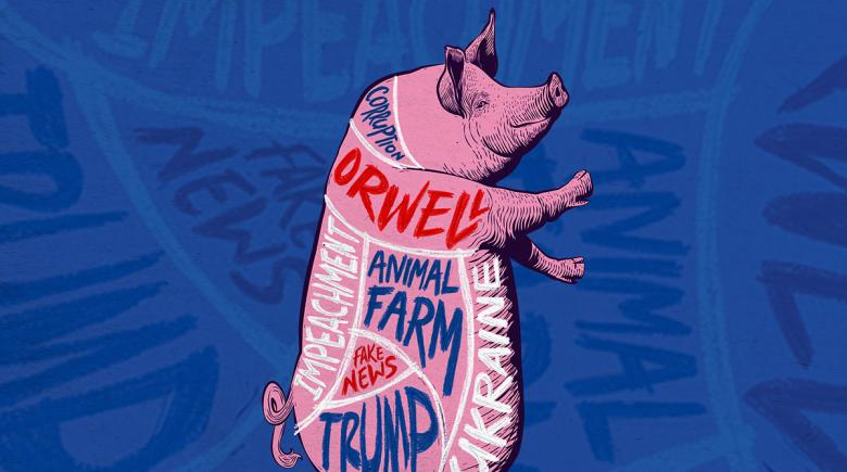 Illustration depicting a pig divided into sections labeled Trump, Animal Farm, Ukraine, Orwell, Fake News, Corruption