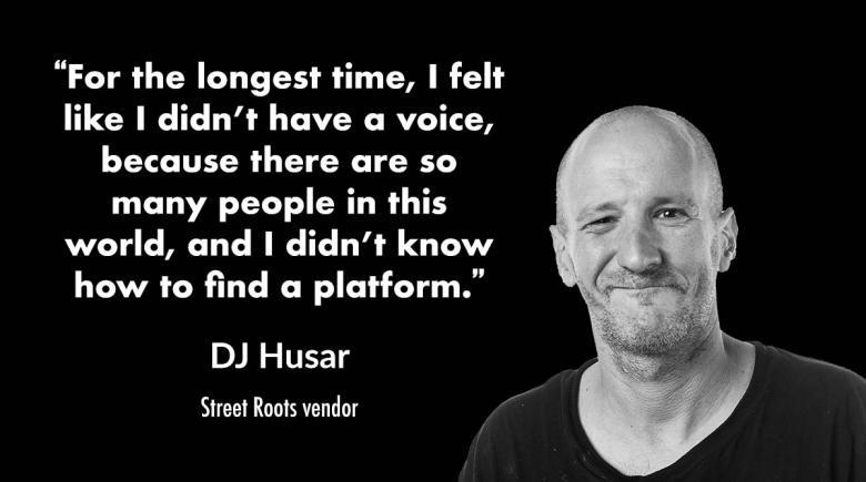Photo of street roots vendor DJ Husar