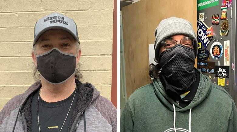 Photos of River and Doug, both wearing protective face coverings