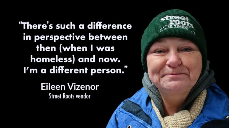 Vendor Eileen Vizenor, with a quote about her new perspective. Quote is also in the vendor profile.