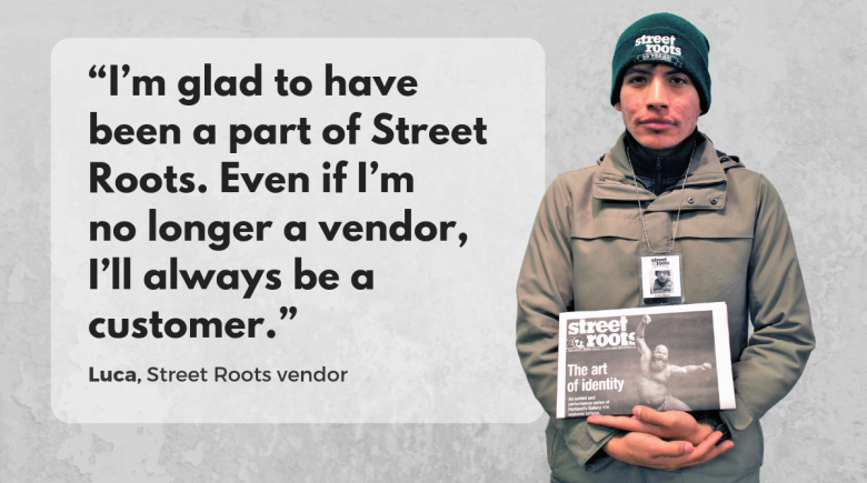 Street Roots vendor Luca