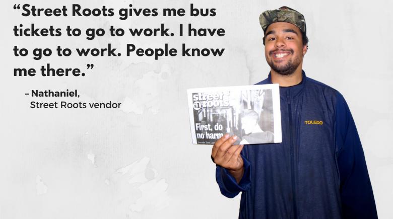 Street Roots vendor Nathaniel