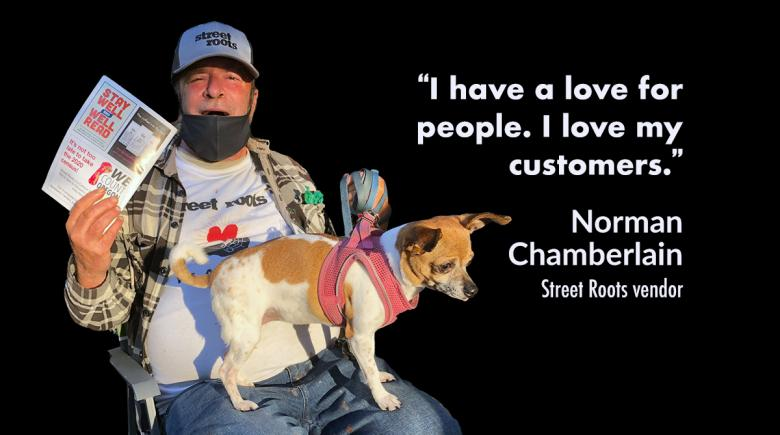 Norman Chamberlain, with a quote from the story about how he loves his customers