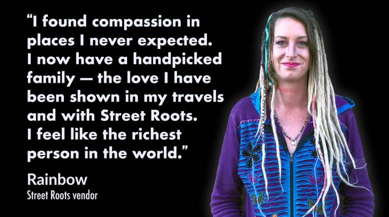 Rainbow, with a quote from their vendor profile about finding compassion