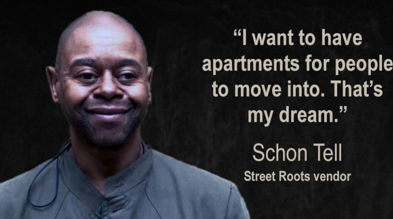 Street Roots vendor Schon Tell