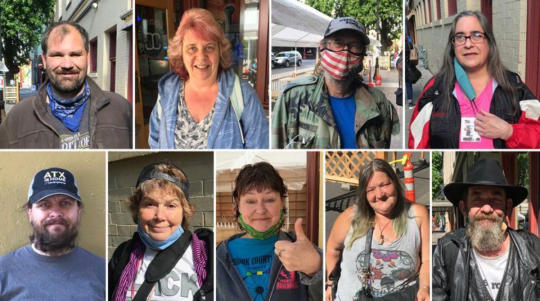 Nine photos of Street Roots vendors