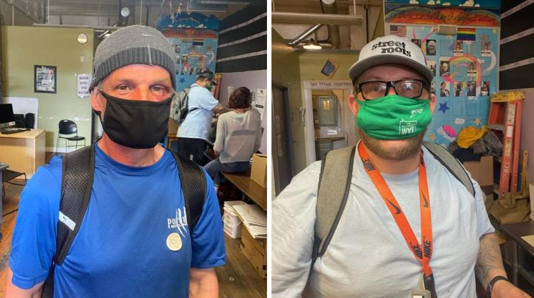 Two photos: Jack and Tommy. Both are wearing masks inside the Street Roots office.