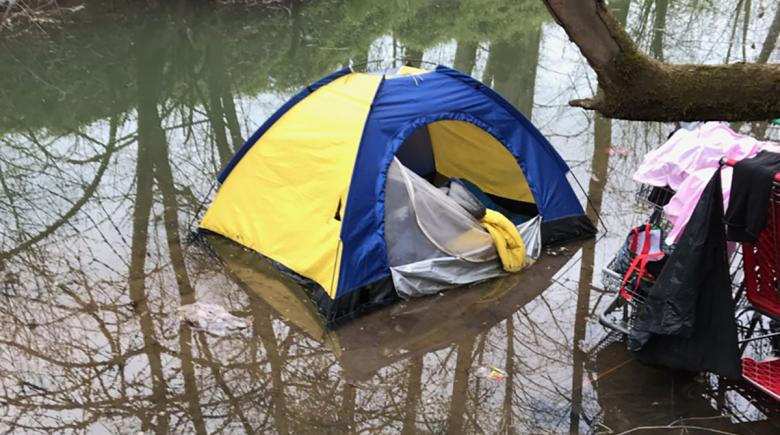 A tent in a pool of water near the Willamette River at Wallace Marine Park in Salem