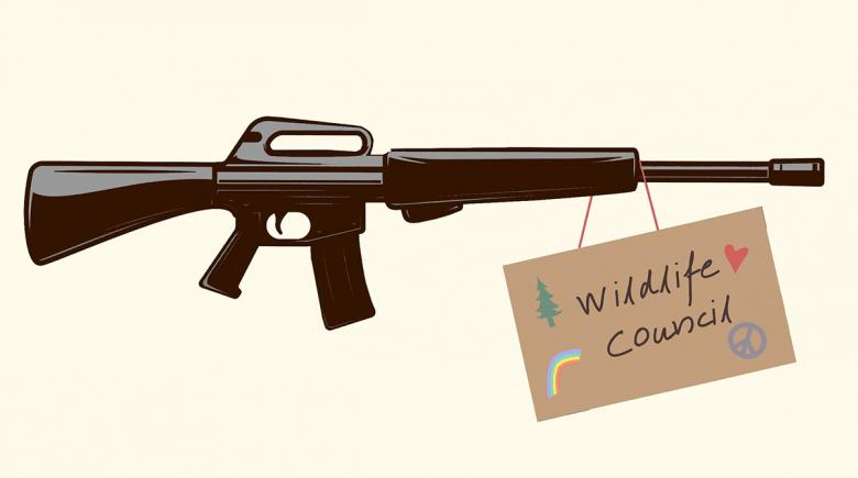Illustration of a gun with a sign hanging from it, featuring a peace sign, a tree and a rainbow and the words: Wildlife Council