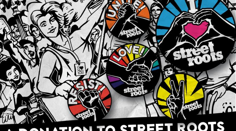 Street Roots buttons