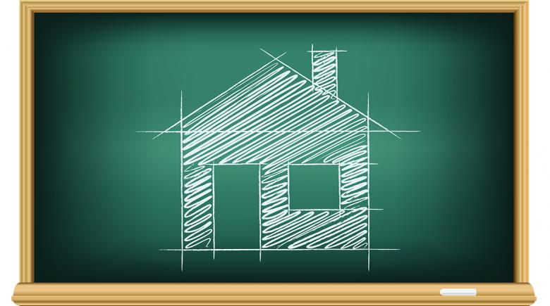 Illustration of a chalkboard with a house drawn on it in chalk