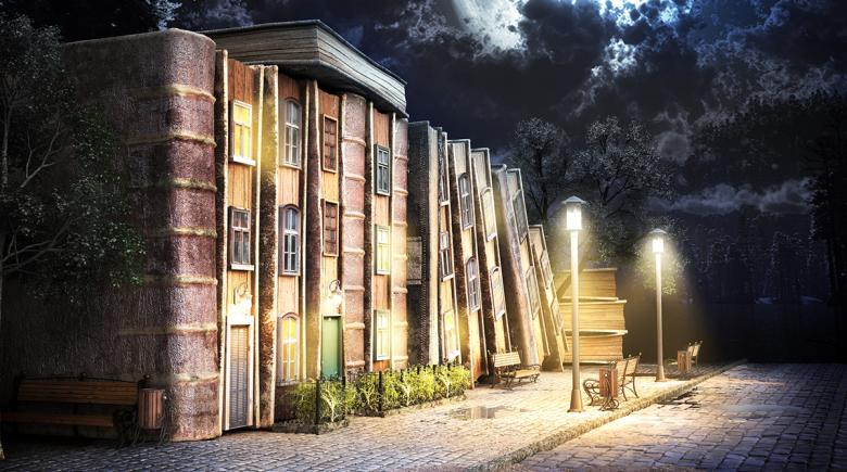 Illustration of tall books that make up a library building. A park bench sits empty outside, next to an empty street.