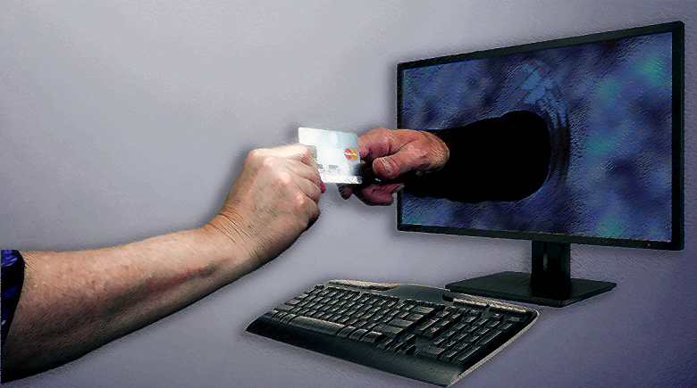 Illustration of a financial exchange through a computer screen
