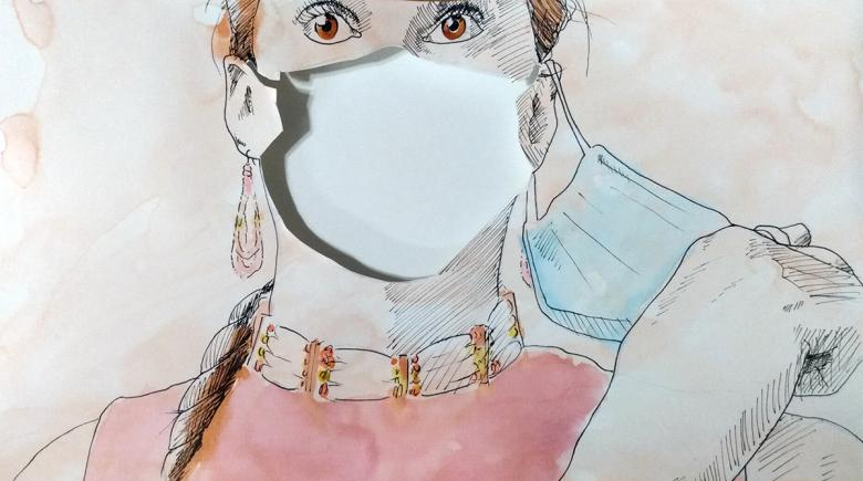 A watercolor illustration depicts an Indigenous person removing a protective face mask to reveal nothing, just a blank space where her mouth should be.