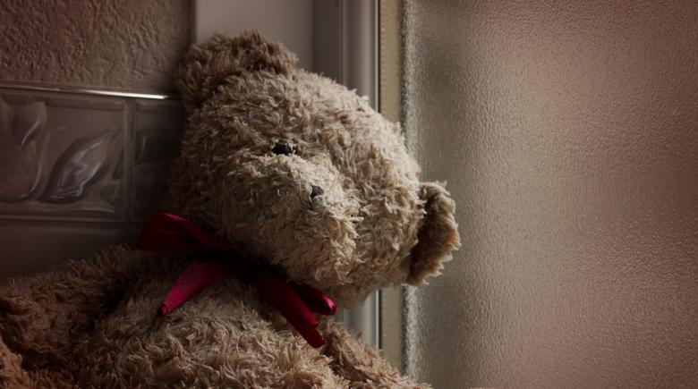 Lonely teddy bear by the window