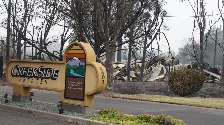 Homes are reduced to rubble in a mobile home park