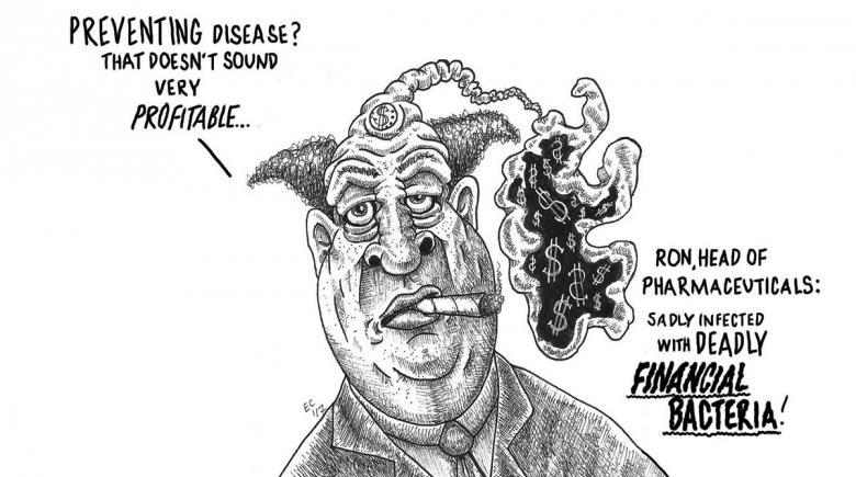 Sheeptoast editorial cartoon: Financial Bacteria