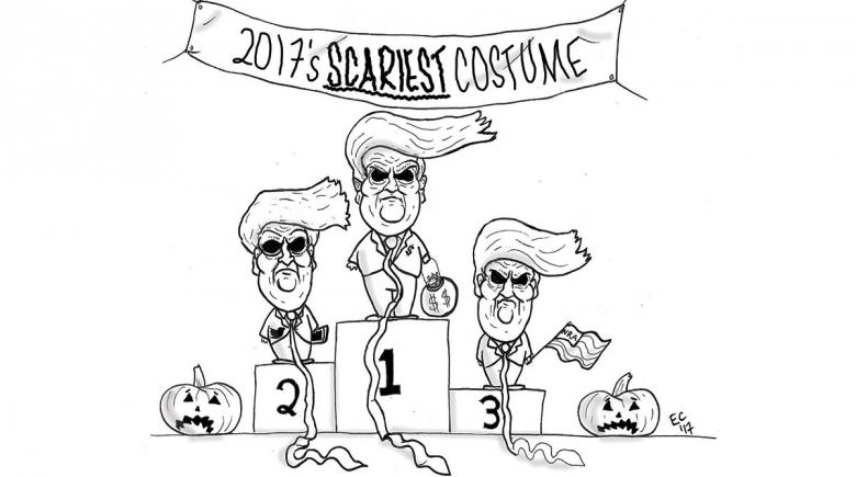 Sheeptoast editorial cartoon: Scariest Costume