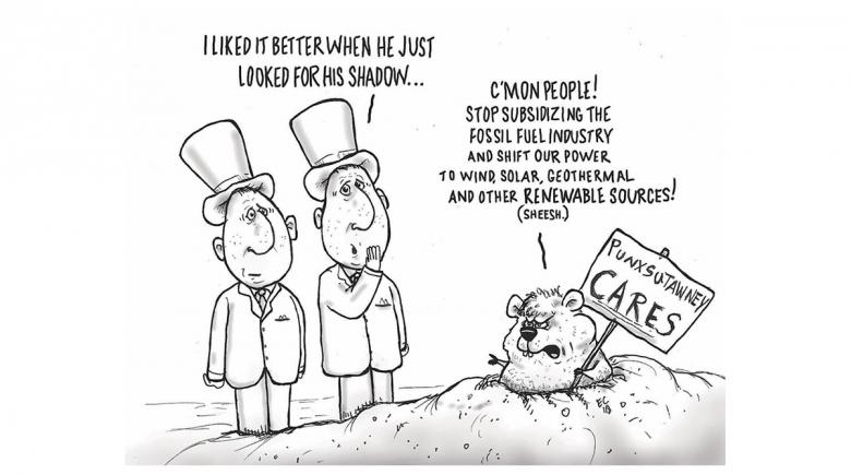 Sheeptoast editorial cartoon: Groundhog Day