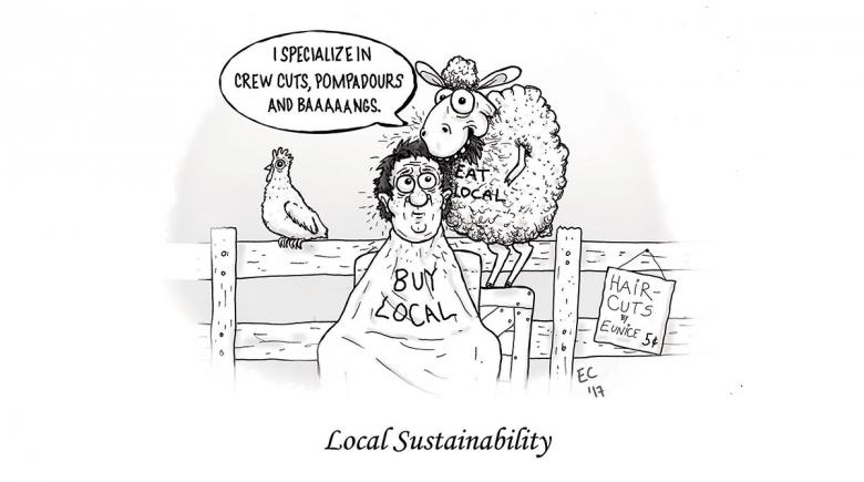 Sheeptoast editorial cartoon: Local Sustainability