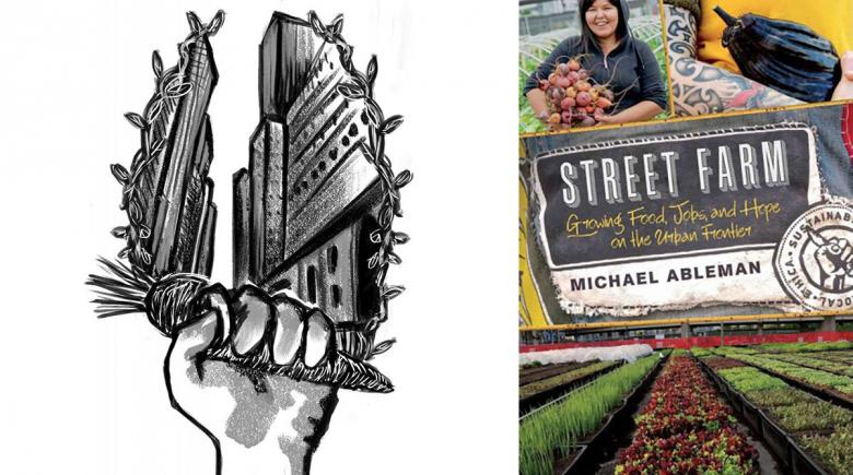 """Street Farm"" illustration and book cover"