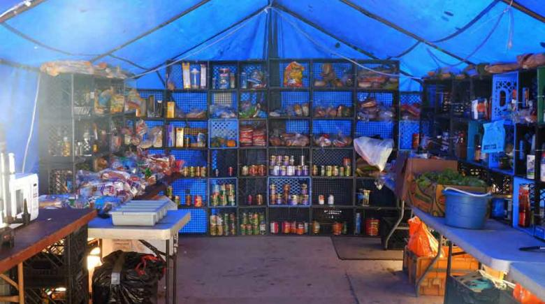 The food tent at Tent City 3 in Seattle, Wash.