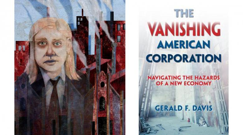 """The Vanishing American Corporation"" book cover and Real Change News illustration"
