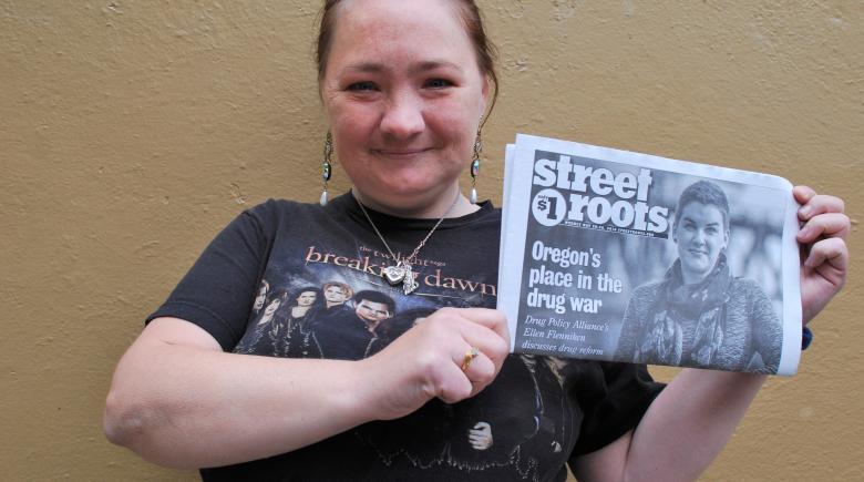Street Roots vendor April
