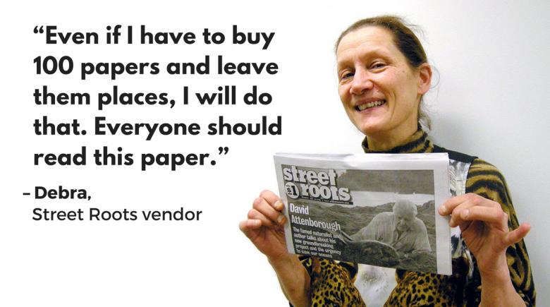 """Street Roots vendor Debra: """"Everyone should read this paper."""""""