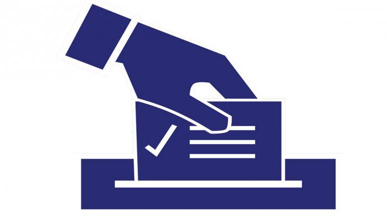 Illustration of hand putting ballot into box