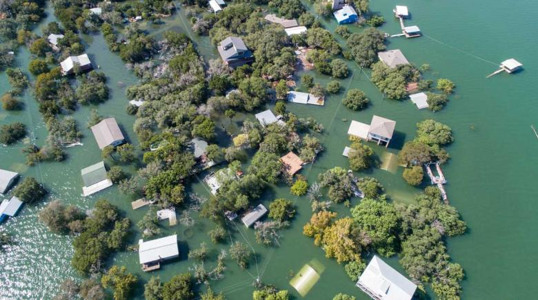 Aerial drone view of an entire Neighborhood under water near Austin, Texas, in October 2018.