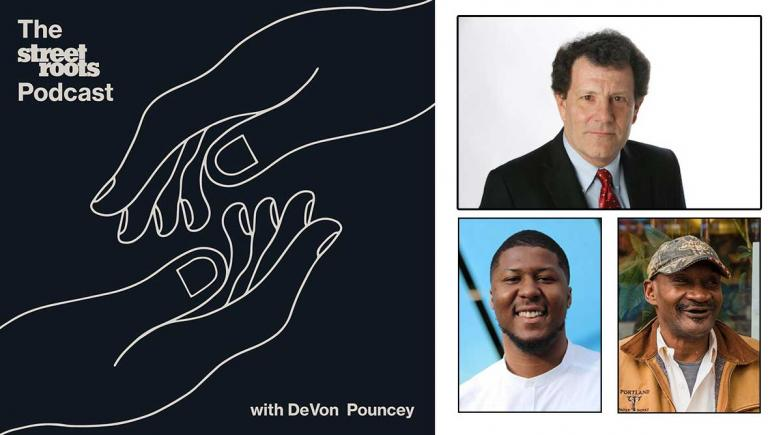Street Roots logo with photos of Nicholas Kristof, DeVon Pouncey and Gary Barker